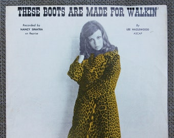"""Suitable for Framing 1966 """"These Boots Are Made For Walkin'"""" Sheet Music for Nancy Sinatra by Lee Hazlewood"""