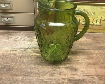 Vintage Pitcher Green Glass Olive Green