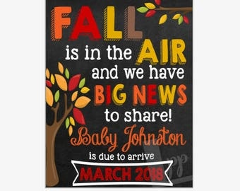 Fall Pregnancy Announcement | Fall Pregnancy Reveal | Fall is in the Air | Chalkboard Sign | Printable Chalkboard Sign | Design PA17025