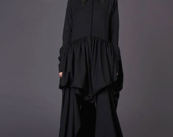 Evening dress woman / Extravagant dress/ Black maxi dress / Shirt dress/ Black shirt dress / Asymmetrical dress / Long sleeve dress