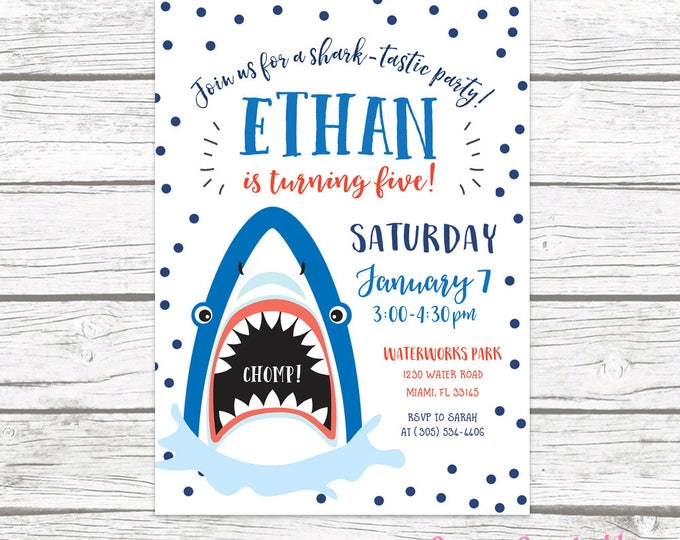 Shark Invitation, Shark Birthday Invitation, Shark Birthday Party Invite, Jaws Birthday Invitation, First 1st Birthday Boy