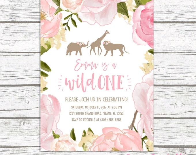 Wild One Birthday Invitation Girl, Pink Safari Birthday Invitation, Pink Wild One Invitation, Pretty Wild One First 1st Birthday Party Girl
