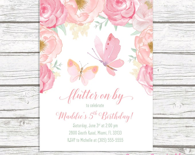 Butterfly Birthday Invitation, Butterfly Invitation, Pink Floral Butterfly Birthday Invitation, Girl 1st First Birthday Party Invitation