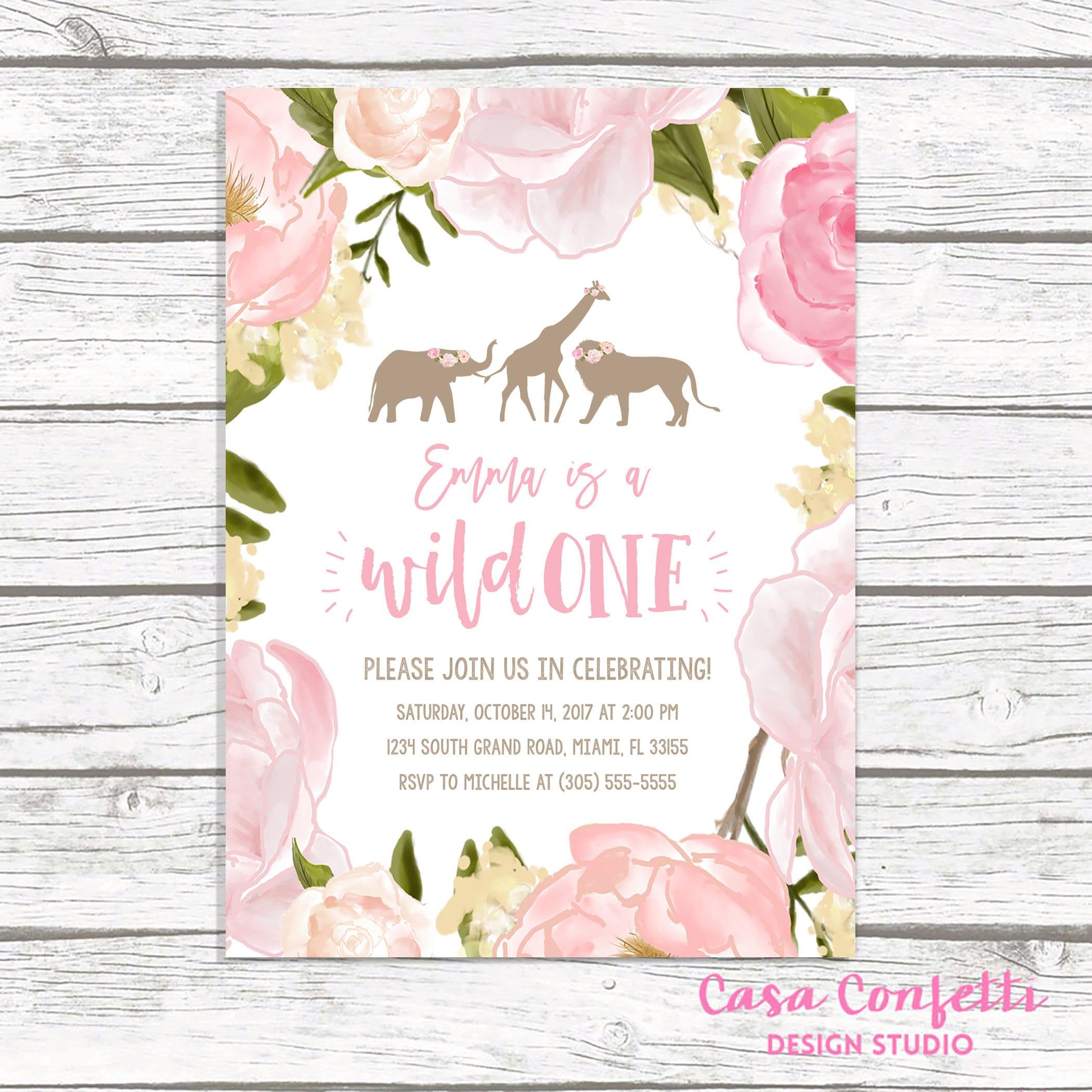 Wild One Birthday Invitation Girl, Pink Safari Birthday Invitation ...