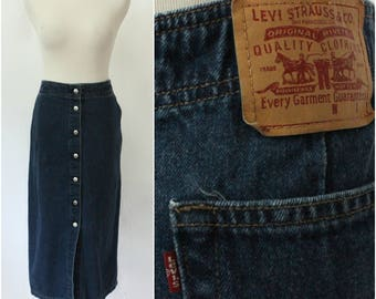 Vintage Levis Snap Button Dark Wash Denim Wiggle Skirt, Pencil Skirt, Jean Skirt, Size - 10