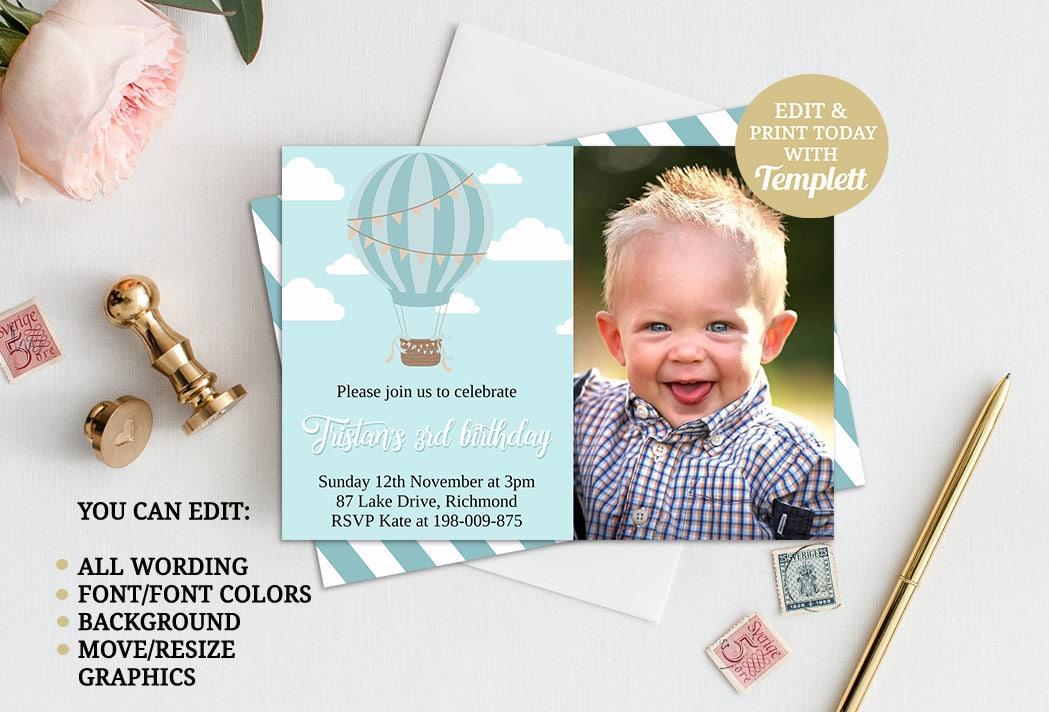 Hot Air Balloon Birthday Invitation Up Up and Away Invitation