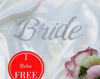 Customized Bridesmaid Robes, Glitter Bride Robe, Bridesmaid gift, Bridal Party Robes, Bridesmaid Outfit, satin bridesmaid robes, bride gift