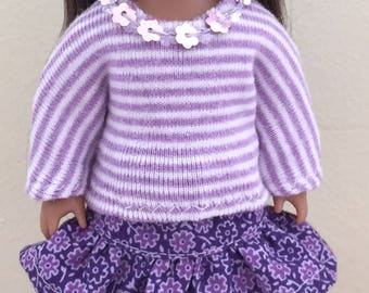 "Doll clothes for  6"" mini dolls:  purple flowered skirt with sequin-trimmed top"