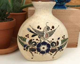 vintage mexican pottery / signed mexican pottery / mexican folk art pottery/ tonala style pottery / hand painted pottery