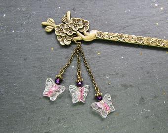 Pink Butterflies and Plum Blossoms Hair Stick, Hair accessory, kanzashi, Hairstick, oriental hair stick, Japanese Hair Stick, Bun Accessory