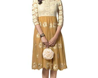Indian Pakistani Bollywood Designer Beige & Off White Color 60 Gm Georgette Kurti For Women Ethnic Dress Tunic Top