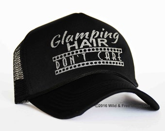 Glamping Hair Don't Care Trucker Hat | Glamping Hat | Camping Hair Don't Care Hat | Camping Hat