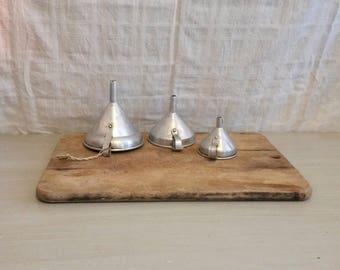 Set of Vintage Funnels, Wabi Sabi Kitchen, Colanders, Kitchenware, Old Aluminium, French Vintage, Old Funnels