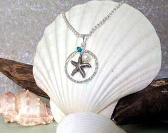 Starfish with Swarovski Crystal and Real Pearl Pendant Necklace, Starfish Pendant Necklace, Beach Pendant Necklace, Beach Wedding Bridesmaid