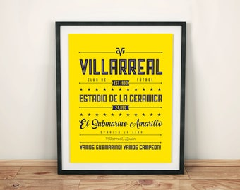 Villarreal Poster; Typographic Football Team Print