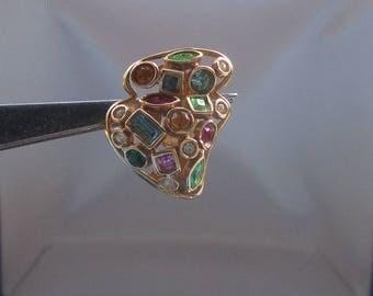 Bellissimi orecchini con multi-pietre in argento placcato oro, karat Hallmark