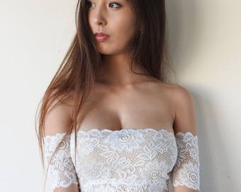 IVY White Lace Crop - off the shoulder crop top. lace crop, lace bralette, white lace, white lace lingerie, bridal, wedding, sweetheart