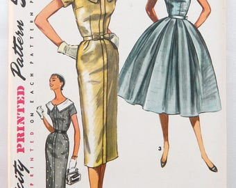 Mid-century Dress Pattern - Vintage Simplicity 1950's sewing pattern 1566 size 16 bust 34; Complete; Slim or full skirt, detachable collar