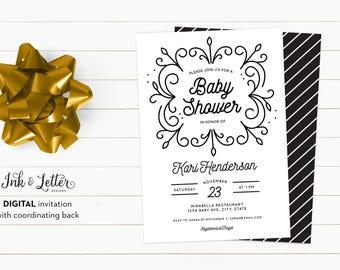 Black and White Baby Shower Invitation - Minimalist Shower Invitation - Digital Shower Invitation - Printable Invitation - Modern Invitation