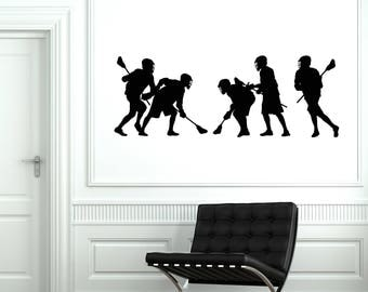 Lacrosse Players Vinyl Wall Decal Sport Silhouettes Art Room Decor Stickers Mural (#2616di)