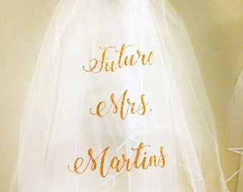 Bachelorette Party Veil , Future Mrs. Veil , Mrs , Personalized Wedding Veil, Bride Veil , Wedding Party , Custom Veil