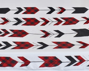 Fletching Arrows Changing Pad Cover, buffalo pain, red and black, hunting, baby boy, lumberjack, woodland nursery