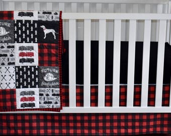 firefighter in red and black, Dalmatian, fire truck, red and black, buffalo plaid, baby boy, fire truck nursery