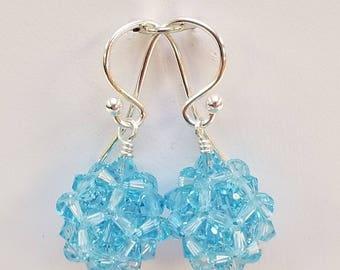 Swarovski, Aqua, Crystal Ball, woven, Sterling silver, earrings