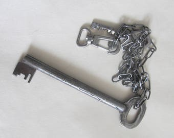 Vintage Key Skeleton, Old Keychain, Large Soviet Key, Steampunk Supplies