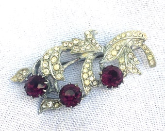"Marcasite Faux Amethyst Brooch, Silver Tone White Metal Pin Brooch, Floral Spray Shaped 1950's Mid Century Style 2"" x 1"" Excellent Condition"