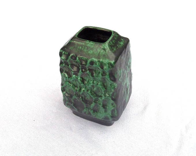 """Bay Vase, West German, , LOW Shipping, Retro German Ceramic, Bay 983-14, 5.75"""" x 4"""" x 3.5"""", Mint Green & Charcoal Grey, Immaculate Condition"""