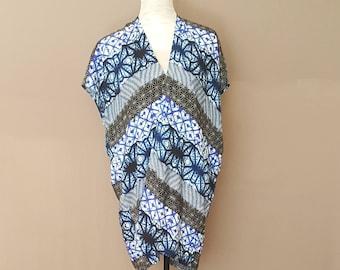 Sale! Blue Abstract Print Kimono Cardigan (small)