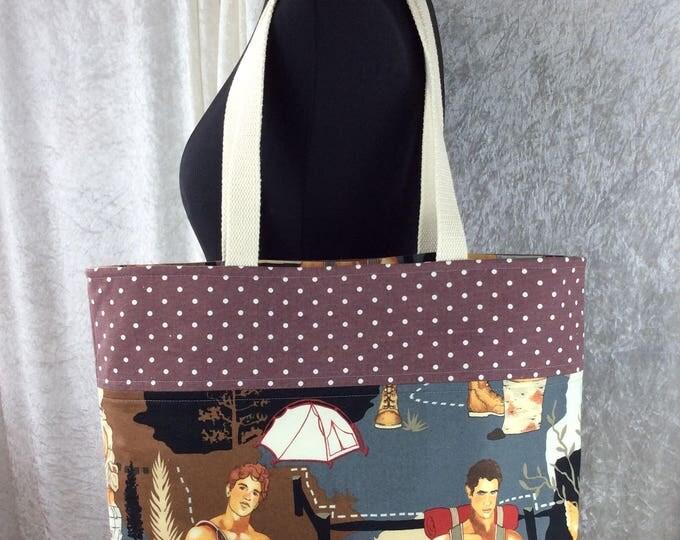 Hunky Hiker Camping Outdoorsy Day Bag Tote fabric handbag shoulder bag purse Alexander Henry Handmade in England