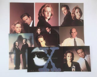 X-Files Postcards, Agent Mulder, Scully, Skinner, X-Files Broken X Logo, Eye Logo, Vintage Set of 9 Post Cards, Set 003, Truth is Out There