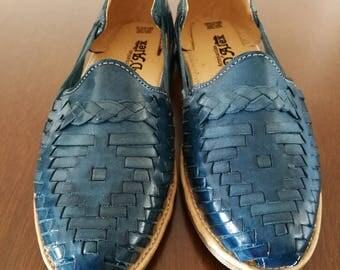 Blue mexican Sandals, Mexican Huaraches sandals, Mexican shoes US 7, Pompom sandals, mexican leather huarache, mex tassel sandals