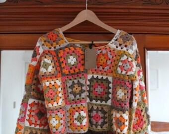 Vintage Handmade Crochet Crop Top Hippie 1970s S M