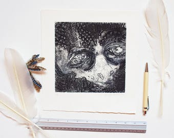 Strange etching print, collography etching, rustic, black and white intaglio, fluke fish art, odd face wall decor, relief print, square art