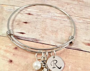 Ballet Shoe Bracelet, Toe Shoe Bracelet, Ballerina Bangle, Ballet Slipper Bangle, Expandable Bangle, Initial Bracelet