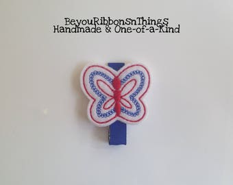 Butterfly | Patriotic | Hair Clips for Girls | Toddler Barrette | Kids Hair Accessories | Blue Grosgrain Ribbon | Felties | No Slip Grip