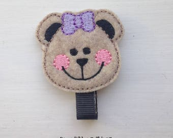 Cute Bear | Purple Bow | Hair Clips for Girls | Toddler Barrette | Kids Hair Accessories | Black Grosgrain Ribbon | Felties | No Slip Grip