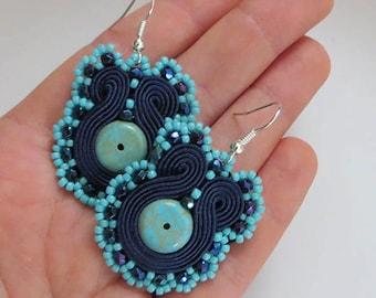 Turquoise navy blue soutache earrings Gemstone  Denim Blue earrings beaded jewelry retro earrings christmas gift, beauty gift for her