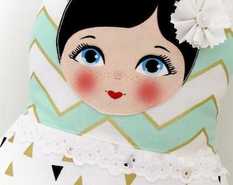 """Babushka matryoshka softie plush doll pillow gift, Medium, 38cm/15"""" tall, gold and aqua"""