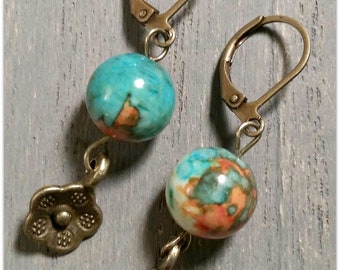 Handcrafted Beaded Earrings with 10mm Jade Beads and Antique Brass Flower Charms, Boho Style, Leverback Earrings, OOAK, Turquoise, Orange