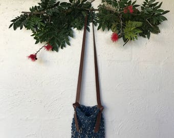 Indigo Dyed Linen and Leather Bag