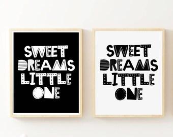 Sleep Print, Sweet Dreams Little One Print, Sleep Printable, Printable Print, Nursery Wall Art, Baby Room Decor, Art Print in Black or White