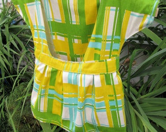 Vintage Retro Clothespin Bag Holder~Retro Yellow Turquoise Green Dress Bag on Hanger & 50 Wooden Clothes Pins~Hanger Clothesline Laundry