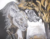 Lion and Lioness Wall Art Print, Black and White, Digital Print, 12x12, Home Decor,Nursery Art, Willow Branch Studio, Gift for Him or Her