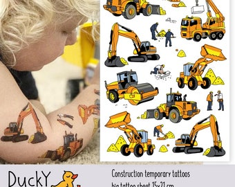 """Temporary tattoo set """"Construction"""" with crane, builder, excavator, bulldozer kids tattoos in doodle style. Construction party favors. TA060"""