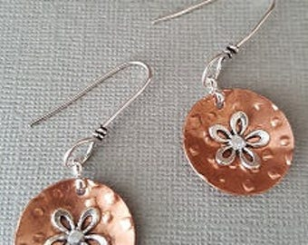 Copper and silver floral disk earrings