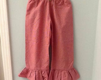 Size 5 Tiny Red and White Checked Pants with Ruffled Cuff
